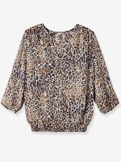 Umstandsmode-Bluse, Tunika-Umstandsbluse mit Leopardenmuster