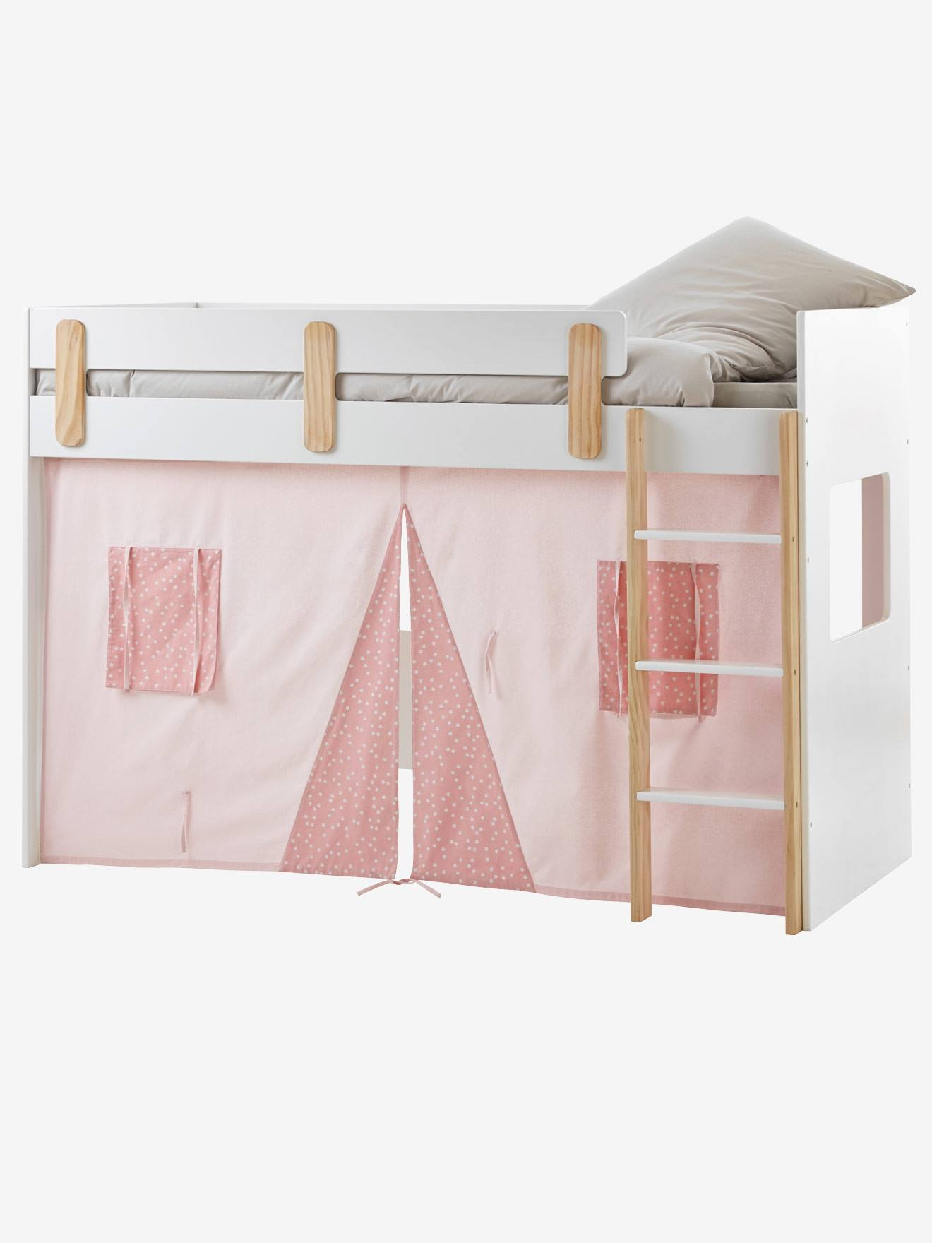 Bettvorhang Für Kinder Hochbett Blau/Bedruckt+Rosa/Bedruckt