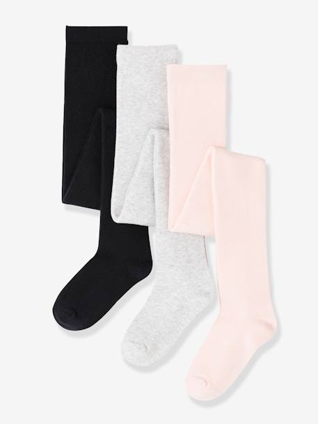 Lot de 3 collants en jersey fille Lot gris chiné+Lot jaune moutarde+LOT MARINE+LOT ROSE+Lot rose pâle