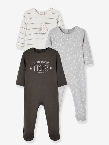Lot de 3 dors-bien bébé en velours dos pressionné Lot anthracite+Lot bois de rose+Lot encre